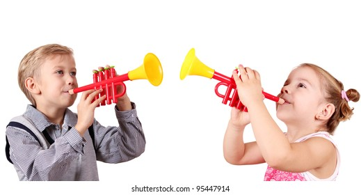 boy and little girl play trumpet