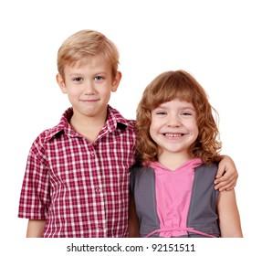 boy and little girl posing