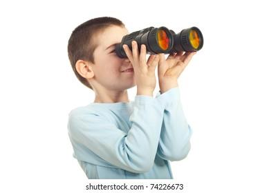 Boy looking through binocular isolated on white background
