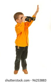 Boy looking throught binocular and raising palm to salute isolated on white background