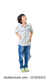 Boy is looking up, Isolated over white with clipping path