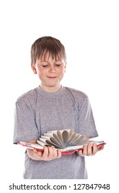 boy looks at a book on a white background