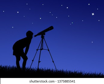 the boy looks at the stars through a telescope on the lawn