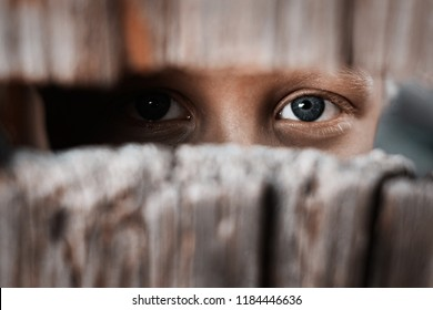 Boy looks through the gap in the fence. The concept of voyeurism, curiosity, Stalker, surveillance and security