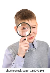 Boy with Loupe Isolated on the White Background