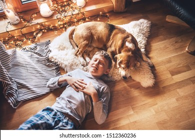 Boy lying on the floor and near beagle dog sleeping on sheepskin in cozy home atmosphere. Peaceful moments of cozy home, holiday time concept image