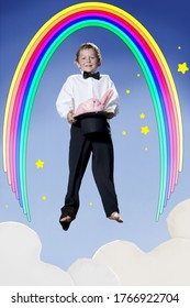 Boy magician in mid air with rainbow and bunny in hat