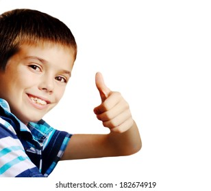 boy making ok gesture over white background
