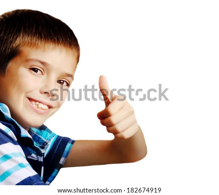 a55162789b Boy Making Ok Gesture Over White Stock Photo (Edit Now) 182674919 ...