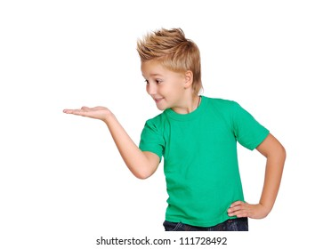 Boy making a presenting gesture with his palm