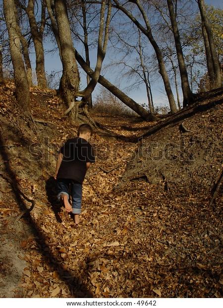 Boy marching up leaf trail