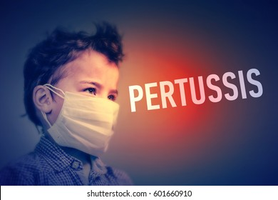 Boy in the medical mask covered his face with his hands next to inscription  PERTUSSIS