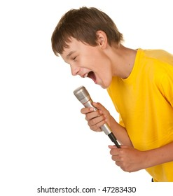 boy with a microphone doing karaoke on white