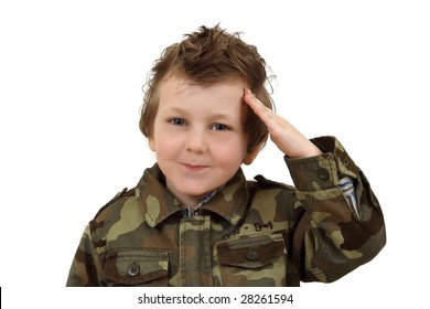 Boy in military uniform isolated on a white