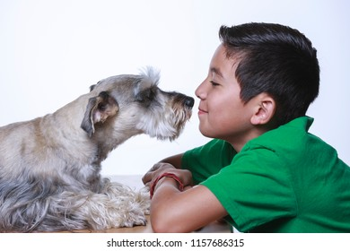A boy and a Miniature Schnauzer share some bonding time together in this studio photo.