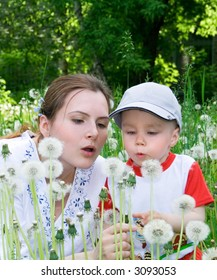 Boy with mother on the meadow. Flowers. 7