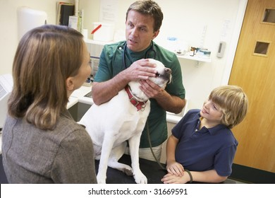 Boy And Mother Taking Dog For Examination By Vet