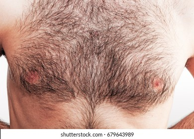 Boy with naked hairy chest