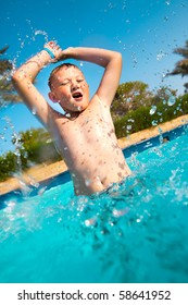boy on rest bathes in pool