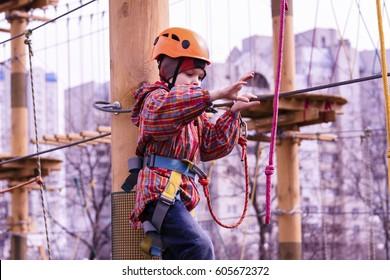 The boy on the rope bridge