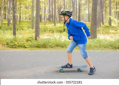 Boy  on skateboard skating