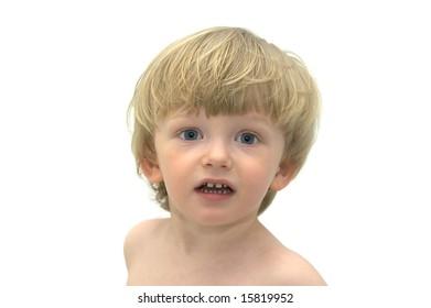 Boy in on white background. In bath.