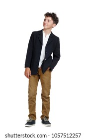 Boy on a white background looking to the side