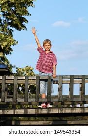 boy on wooden playground