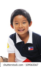 Boy from philippines wears flag on shirt