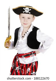 boy pirate on a white background in studio
