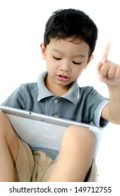 boy play with tablet pc on white background