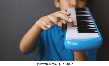 Boy playing blue melodeon musical instrument, melodica blow organ, pianica or melodion in dark gray background