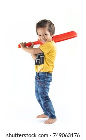 A boy playing cricket on white background
