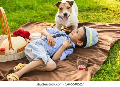 Boy playing with dog at family picnic at green grass lawn
