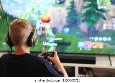 Boy playing Fortnite