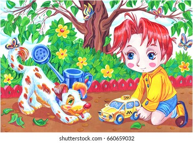 boy playing in the garden with his dog and toy car