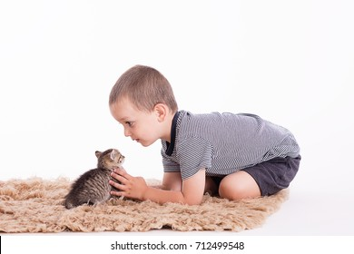 boy playing with a kitten in a studio white background