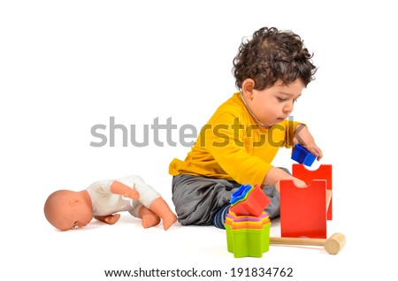 Learning Toys For Autistic Toddlers : Boy playing learning didactic toys didactic stock photo edit now