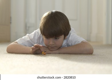Boy playing marbles at home lying on a carpet