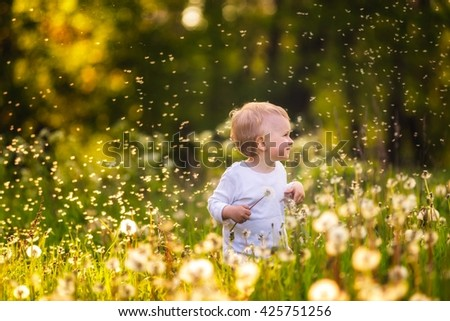 Boy playing on dandelion meadow. Childhood spent in nature