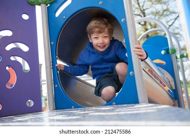 Boy playing in the playground.