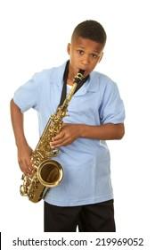 Boy Playing Saxophone on White Background