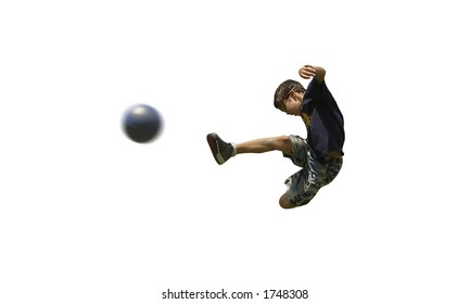 Boy playing soccer isolated