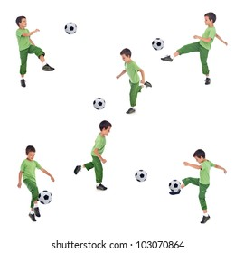 Boy playing soccer - various angle shots, isolated collage