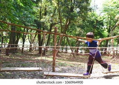The boy is playing the suspended bridge made by hemp rope and think plank in the forest playground. The concept of challenge, courageous, exploration and adventure or curiosity.