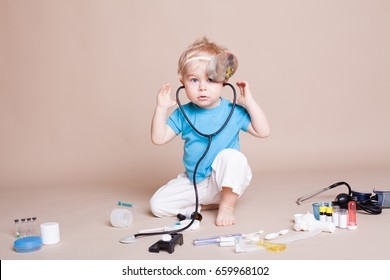 a boy plays in doctor medicine hospital 23