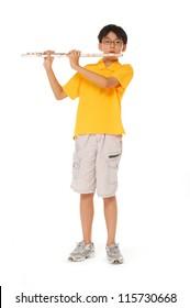 boy plays a flute