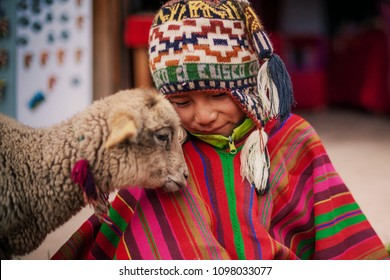 A boy plays with his sheep after feeding him biscuits, they are at a crafts fair in Chincheros Cusco. January 2018