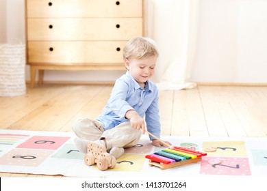 The boy plays in a kindergarten on the xylophone. boy playing with toy musical instrument xylophone in the children's room. Close-up of a kid playing on xylophone. The concept of child development.