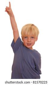 Boy pointing high
